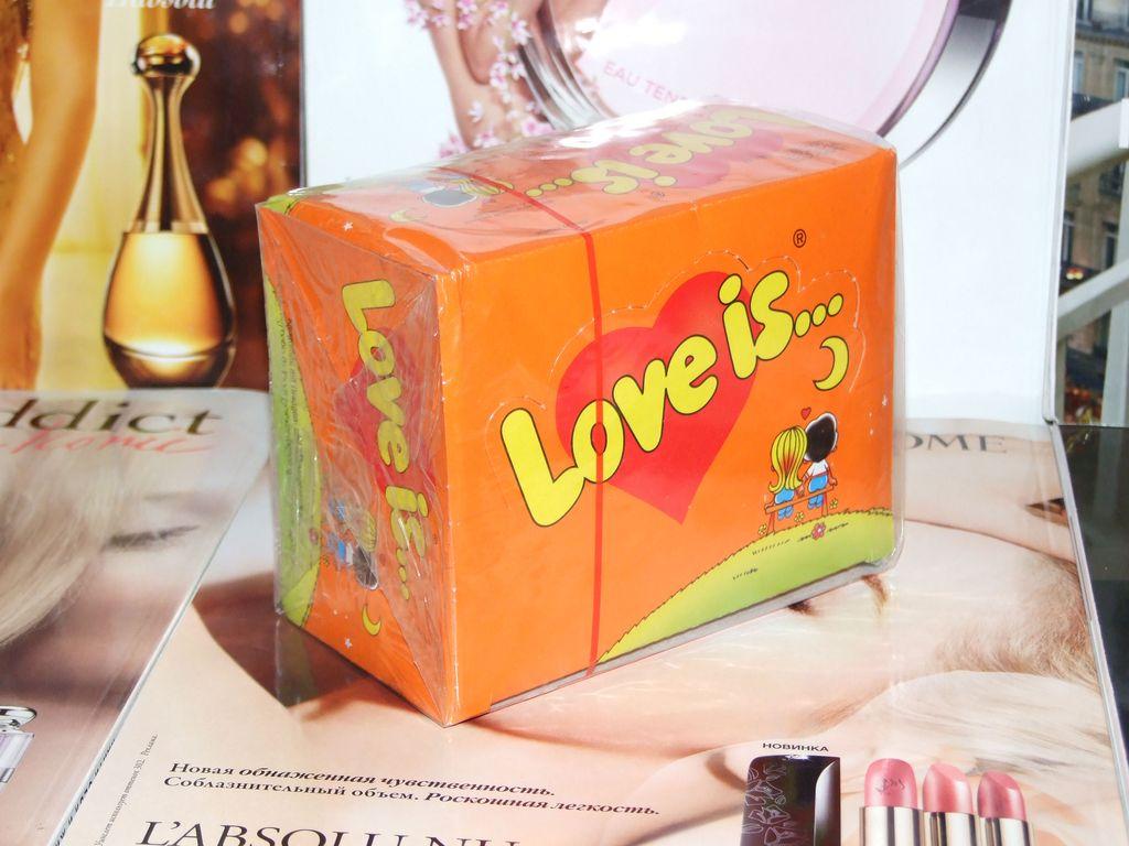 Love is жвачка блок 100 шт ананас-апельсин