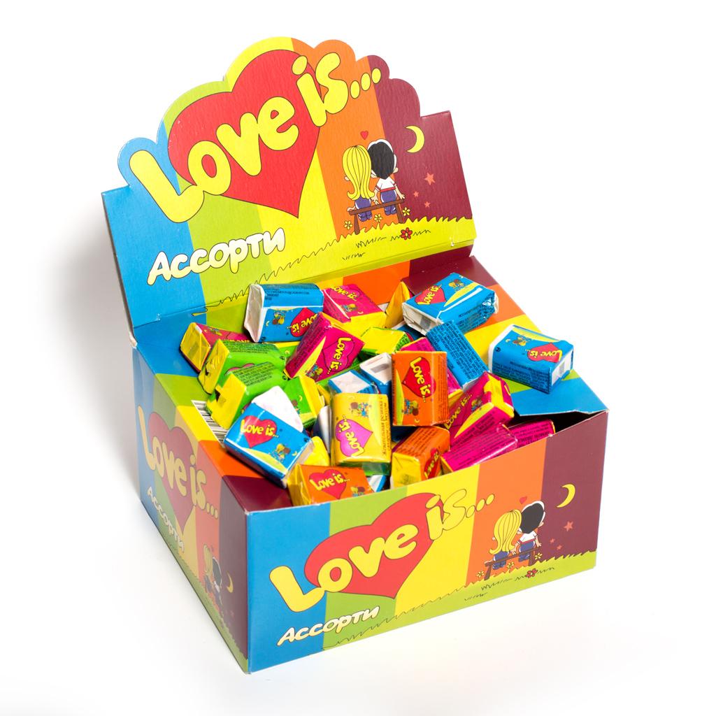 Love is жвачка блок 100 шт микс