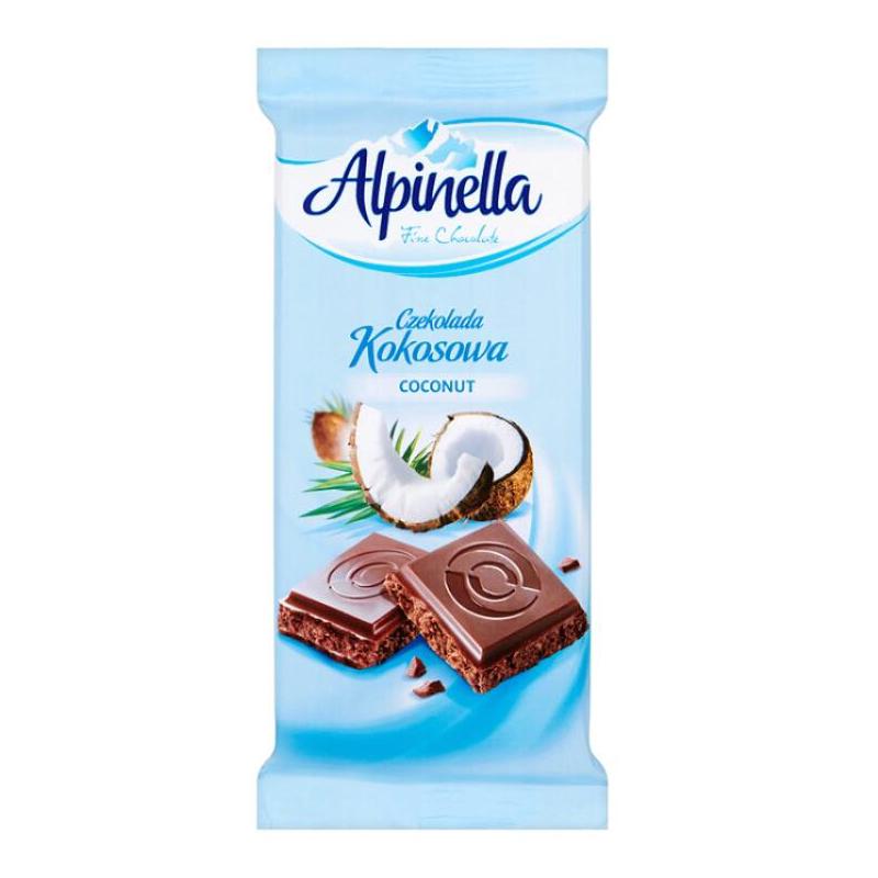Alpinella Czekolada Kokosowa — молочный шоколад с кокосовой начинкой, 90 гр.