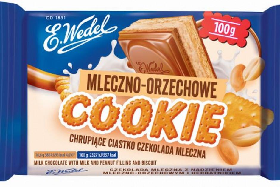 E. Wedel Cookie Czekolada mleczna z nadzieniem mleczno-orzechowym i herbatnikiem молочный шоколад с арахисом и печеньем100 g