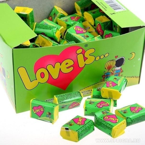 Love is жвачка блок 100 шт яблоко и лимон