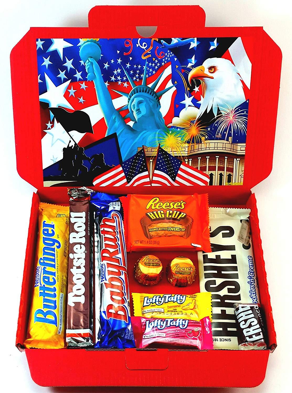 Mystery American USA Box Набор подарочный рандомных сладостей и напитков из США
