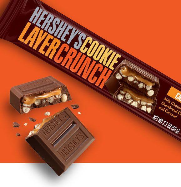 HERSHEY'S Cookie Layer Crunch Chocolate Candy Bar, Caramel 39 гр